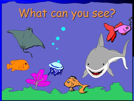 What can you see? The enormous shark is swimming after the small fish. The orange fish is coming in, but the pink fish is going out. The jellyfish is.