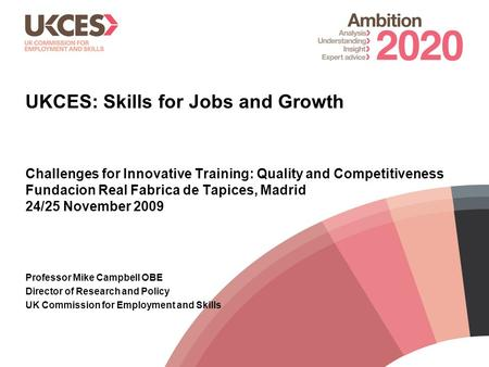 1 UKCES: Skills for Jobs and Growth Challenges for Innovative Training: Quality and Competitiveness Fundacion Real Fabrica de Tapices, Madrid 24/25 November.