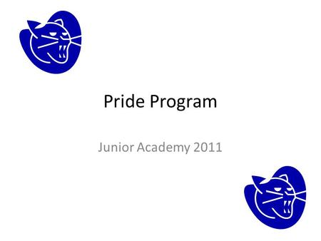 Pride Program Junior Academy 2011. What Does Pride Stand for? P ersonal R einforcement I ncentive for D aily E ncouragement.