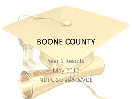 BOONE COUNTY Year 1 Results May 2012 NDPC SD and WVDE.