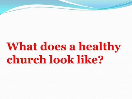 What does a healthy church look like?. Introduction A computer only produces what's been put in it. It might be able to mimic life but it cannot generate.