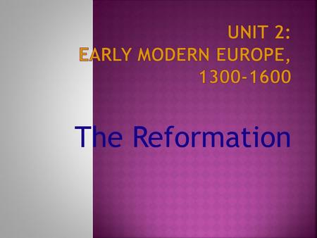 The Reformation. 1. Excommunication = act depriving a person from belonging to a church body or group 2. Hierarchy = a ranking of clergy, each subordinate.