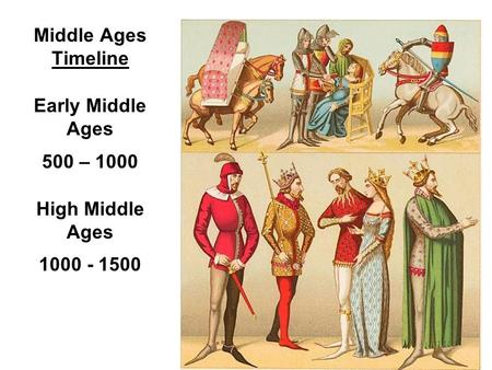 Middle Ages Timeline Early Middle Ages 500 – 1000 High Middle Ages