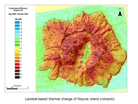 Landsat-based thermal change of Nisyros Island (volcanic)