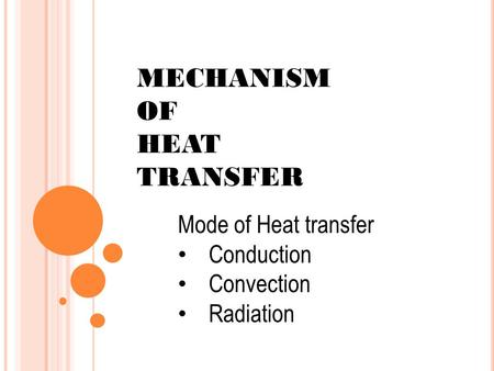 MECHANISM OF HEAT TRANSFER Mode of Heat transfer Conduction Convection