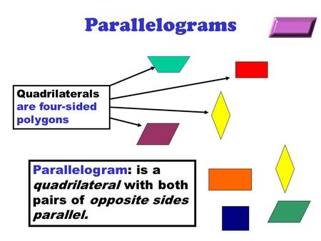 Parallelograms Quadrilaterals are four-sided polygons