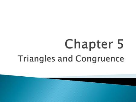 Triangles and Congruence
