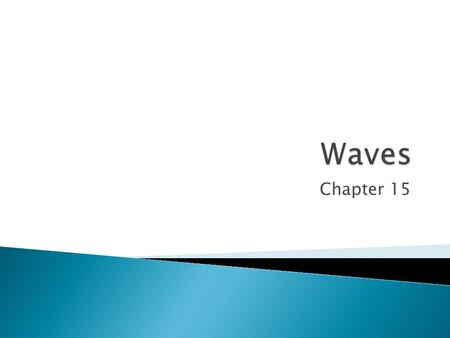 Chapter 15.  Every sound, light and water wave that is heard and seen depends on waves  A wave is a disturbance that transfers energy from one place.