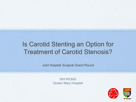 Is Carotid Stenting an Option for Treatment of Carotid Stenosis? Joint Hospital Surgical Grand Round WH WONG Queen Mary Hospital.