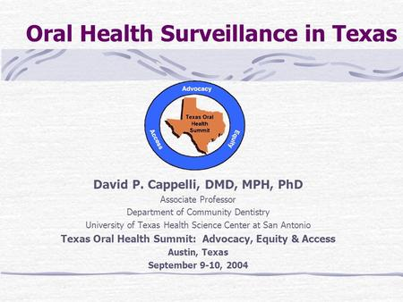 Oral Health Surveillance in Texas David P. Cappelli, DMD, MPH, PhD Associate Professor Department of Community Dentistry University of Texas Health Science.