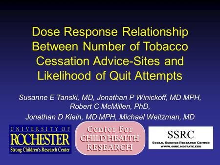 Dose Response Relationship Between Number of Tobacco Cessation Advice-Sites and Likelihood of Quit Attempts Susanne E Tanski, MD, Jonathan P Winickoff,