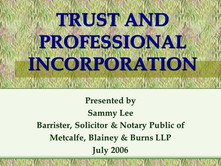 TRUST AND PROFESSIONAL INCORPORATION Presented by Sammy Lee Barrister, Solicitor & Notary Public of Metcalfe, Blainey & Burns LLP July 2006.