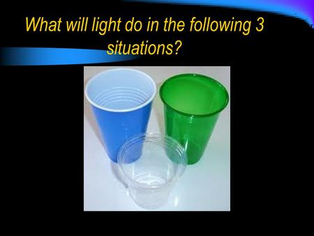 What will light do in the following 3 situations?.