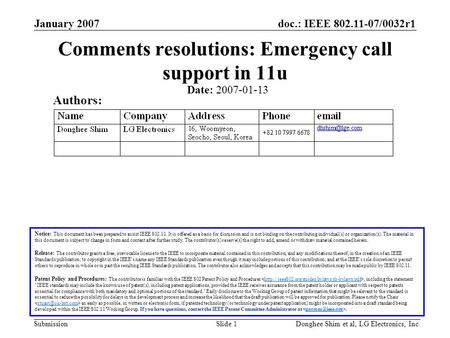 Doc.: IEEE 802.11-07/0032r1 Submission January 2007 Donghee Shim et al, LG Electronics, Inc.Slide 1 Comments resolutions: Emergency call support in 11u.