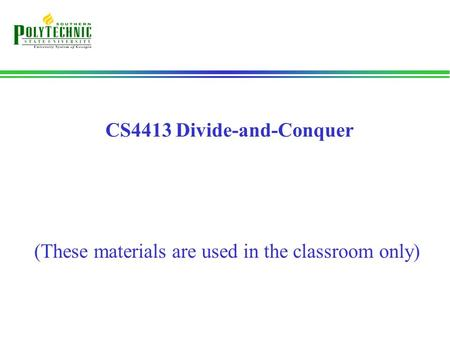 CS4413 Divide-and-Conquer