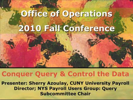 Office of Operations 2010 Fall Conference Conquer Query & Control the Data Presenter: Sherry Azoulay, CUNY University Payroll Director; NYS Payroll Users.