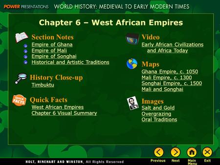 Chapter 6 – West African Empires
