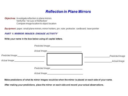 "Reflection in Plane Mirrors Reflection in Plane Mirrors Objectives: Investigate reflection in plane mirrors Verify the ""1st Law of Reflection"" Compare."