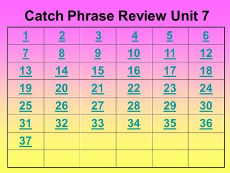 6 789101112 131415161718 192021222324 252627282930 313233343536 37 Catch Phrase Review Unit 7 54321.