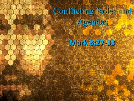 Conflicting Roles and Agendas Conflicting Roles and Agendas