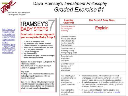 A Character and Leadership Development Program Learning Objectives Use Dave's 7 Baby Steps Describe reasons for saving and investing Explain Describe how.