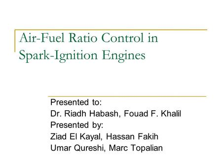 Air-Fuel Ratio Control in Spark-Ignition Engines