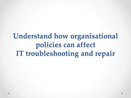 Organisational policies