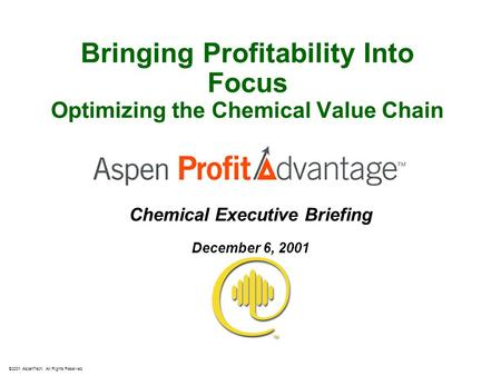Bringing Profitability Into Focus Optimizing the Chemical Value Chain