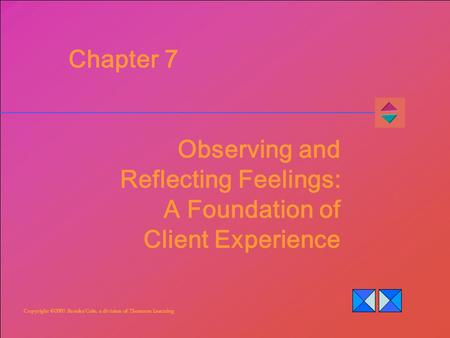 Copyright ©2007 Brooks/Cole, a division of Thomson Learning Chapter 7 Observing and Reflecting Feelings: A Foundation of Client Experience.