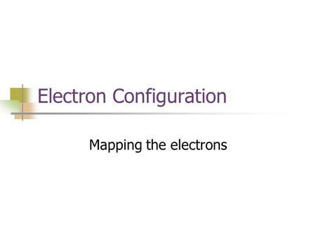 Electron Configuration Mapping the electrons. Electron Configuration The way electrons are arranged around the nucleus.
