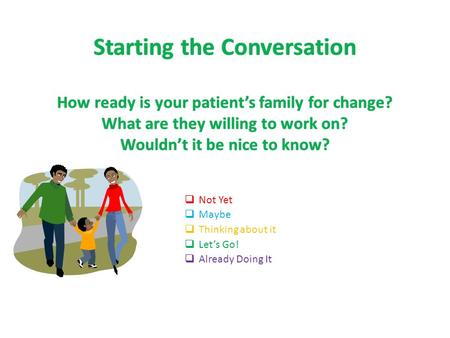 Starting the Conversation How ready is your patient's family for change? What are they willing to work on? Wouldn't it be nice to know?  Not Yet  Maybe.