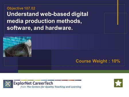 Objective 107.02 Understand web-based digital media production methods, software, and hardware. Course Weight : 10%