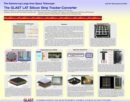 The Gamma-ray Large Area Space Telescope: UNDERSTANDING THE MOST POWERFUL ENERGY SOURCES IN THE UNIVERSE The GLAST LAT Silicon Strip Tracker-Converter.