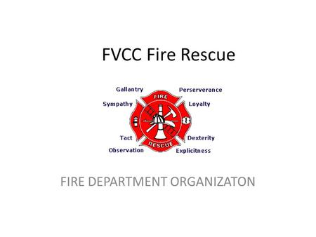 FVCC Fire Rescue FIRE DEPARTMENT ORGANIZATON. OBJECTIVES 2-1.1 Identify the organization of the fire department (3-1.1.1) 2-1.2 Identify the firefighter's.