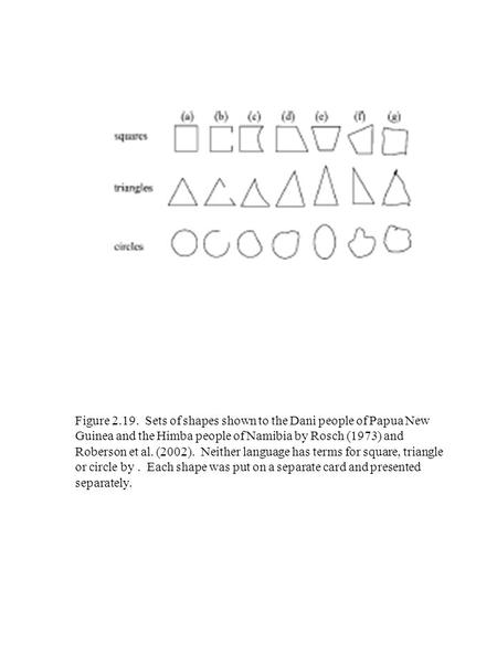 Figure 2.19. Sets of shapes shown to the Dani people of Papua New Guinea and the Himba people of Namibia by Rosch (1973) and Roberson et al. (2002). Neither.