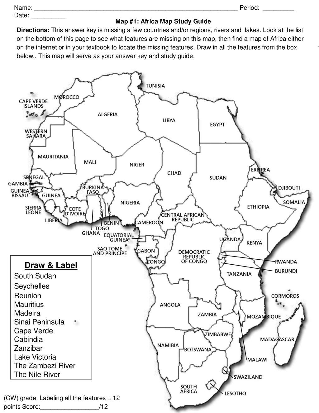 Africa Map Study Map #1: Africa Map Study Guide   ppt download