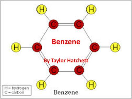 Benzene By Taylor Hatchett. What is Benzene? Chemical Colorless or light yellow Liquid at room temperature Has a sweet odor Highly flammable Evaporates.