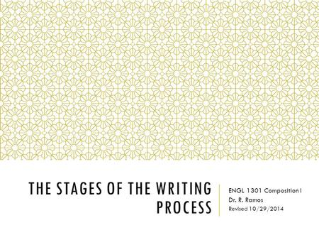 THE STAGES OF THE WRITING PROCESS ENGL 1301 Composition I Dr. R. Ramos Revised 10/29/2014.