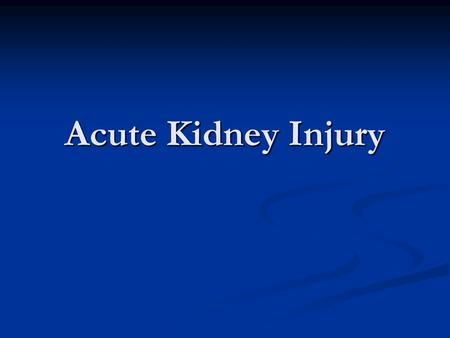 Acute Kidney Injury. 49 year old man was a single vehicle MVC in which he was ejected. His injuries include: 49 year old man was a single vehicle MVC.