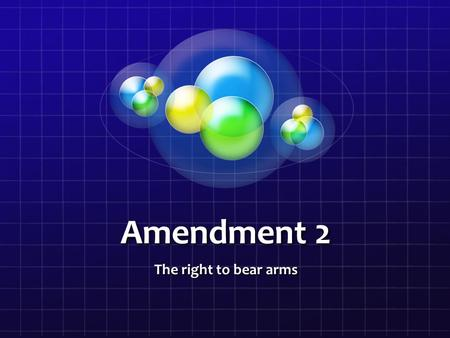 Amendment 2 The right to bear arms. This amendment was created December 15 1791 along with the rest of the Bill of Rights. It was based of the natural.