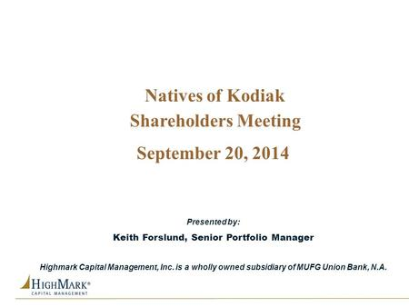 Keith Forslund, Senior Portfolio Manager