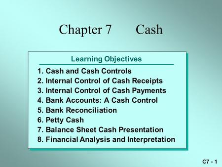 C7 - 1 Learning Objectives 1.Cash and Cash Controls 2.Internal Control of Cash Receipts 3.Internal Control of Cash Payments 4.Bank Accounts: A Cash Control.