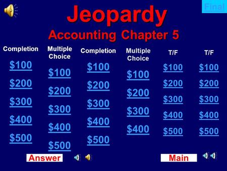Main New Question Answer Jeopardy Accounting Chapter 5 Jeopardy Accounting Chapter 5 Completion $100 $200 $300 $400 $500 Multiple Choice $100 $200 $300.