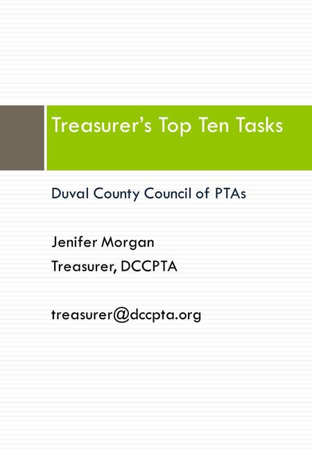 Treasurer's Top Ten Tasks