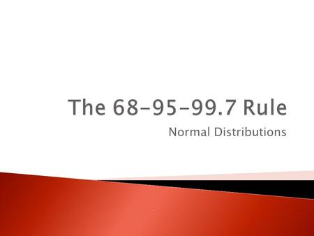 The 68-95-99.7 Rule Normal Distributions.