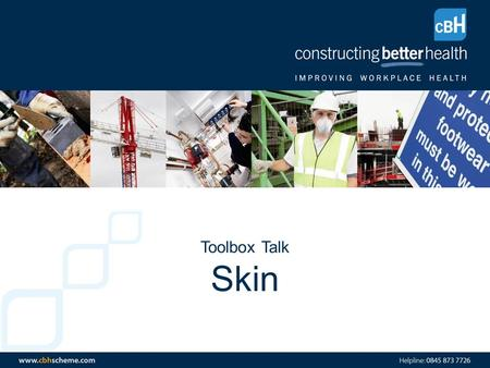 Toolbox Talk Skin. Agenda Structure of the Skin How to look after your skin at work Sun Awareness.