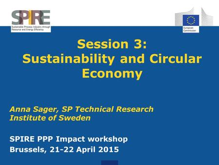Session 3: Sustainability and Circular Economy
