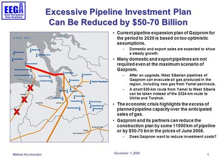 December 1, 2008 Mikhail Korchemkin 1 Excessive Pipeline Investment Plan Can Be Reduced by $50-70 Billion Current pipeline expansion plan of Gazprom for.