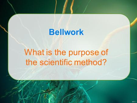 Bellwork What is the purpose of the scientific method?