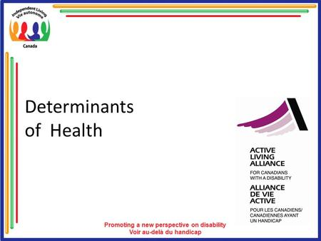 Determinants of Health. Overview of Determinants of Health This overview consists of the following: Health Well Being and Quality of life Physical Activity.